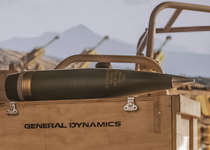 XM1113 on box with General Dynamics logo